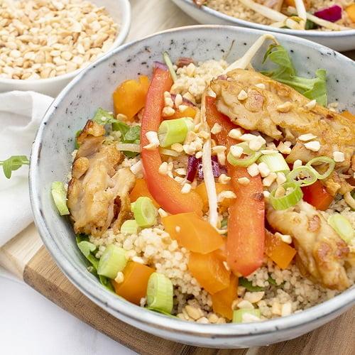 Couscous met paprika en vegetarische kip