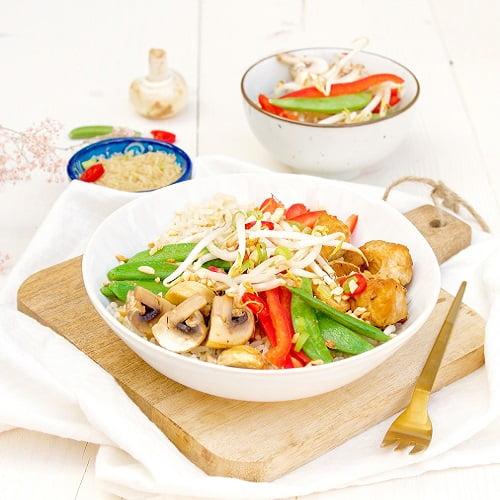 Rijst met kip ketjap en Thaise groente