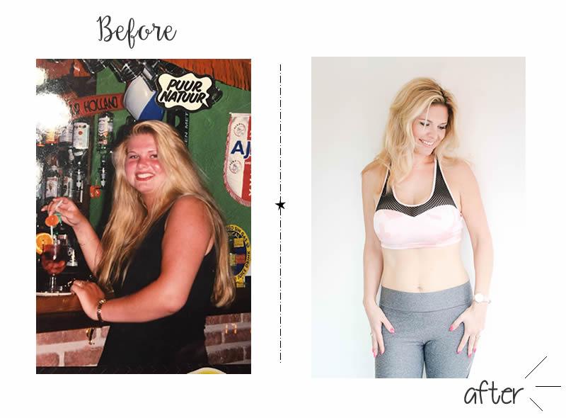 Voor en na foto van afslankcoach Rachel Hulshof die 19 kilo afviel met Slinc.