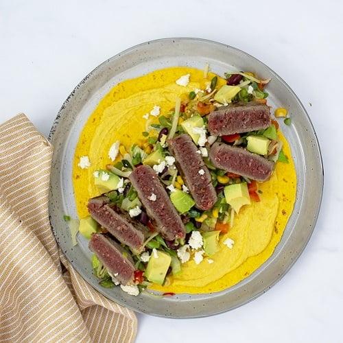 Wortel wraps met Mexicaanse groenten en steak tartaar