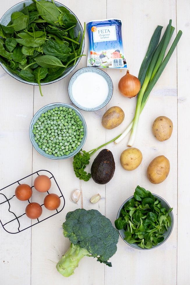 Ingrediënten groene shakshuka