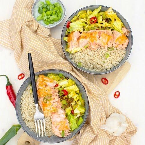 Zalm met kerrie spitskool en rijst