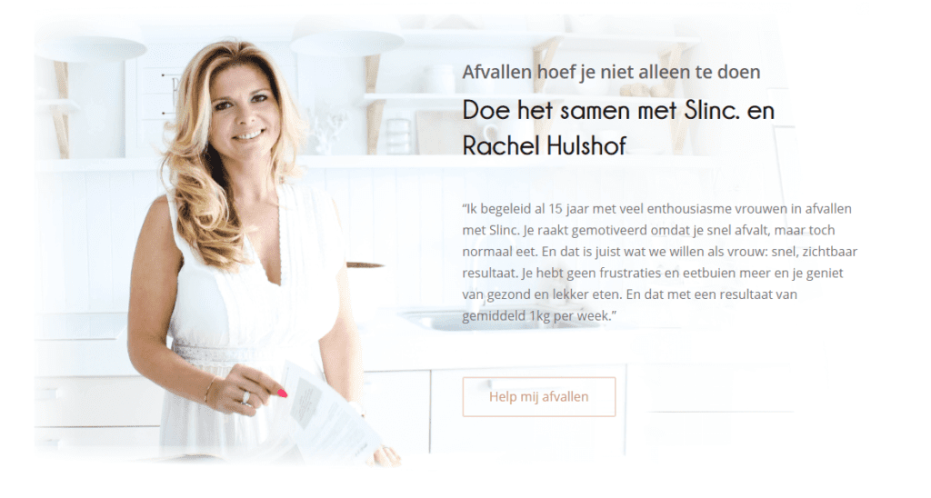 Afvallen dieet Slinc. en Rachel Hulshof