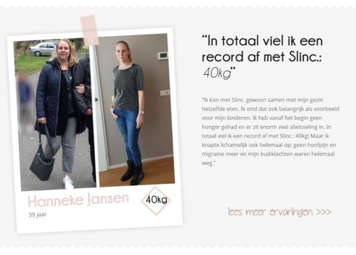 Ervaring Slinc. voor- en na foto