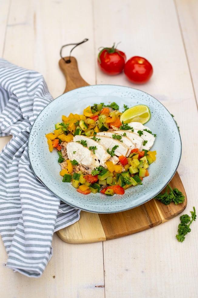 Volkoren couscous met kip en courgette