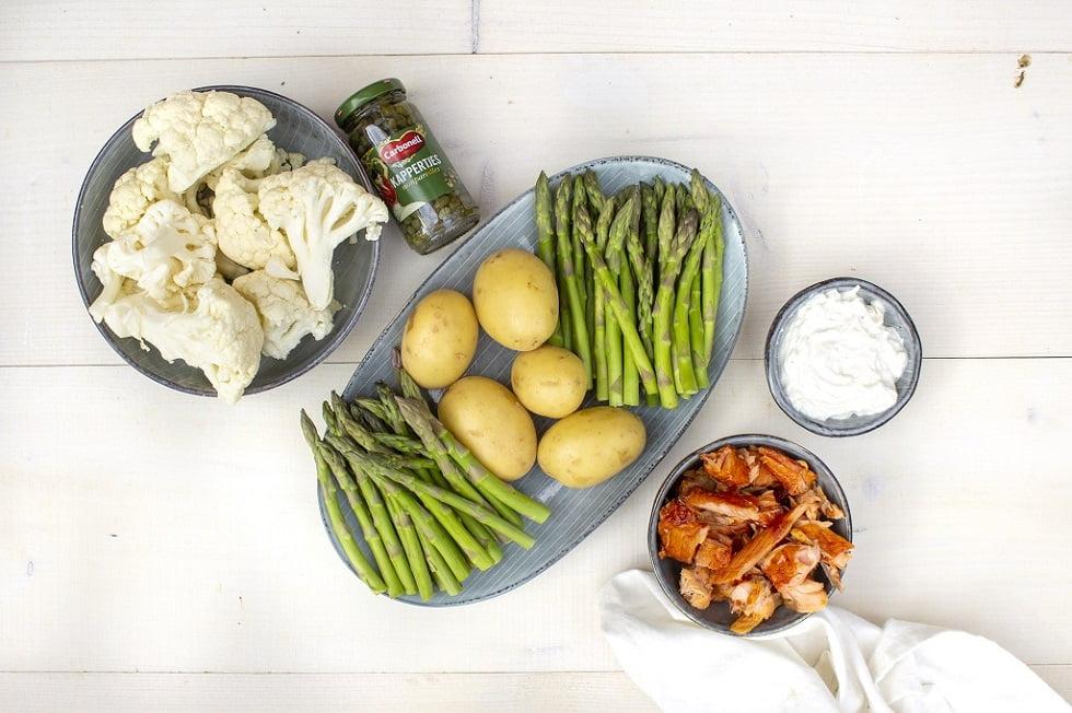 Bloemkoolpuree met zalm en groene aspergetips ingrediënten