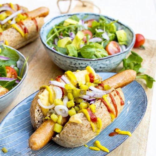 Gezond broodje hotdog