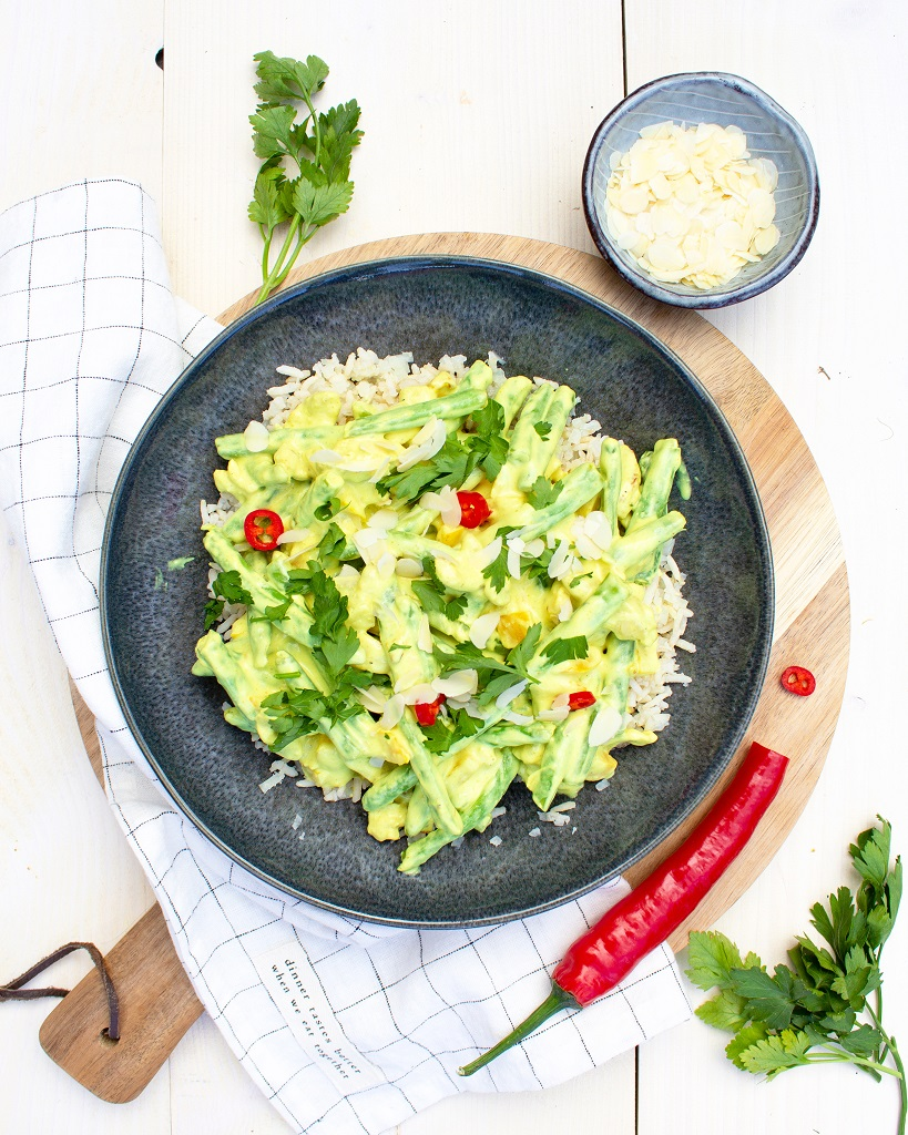 Recept vegetarische kip kerrie met rijst