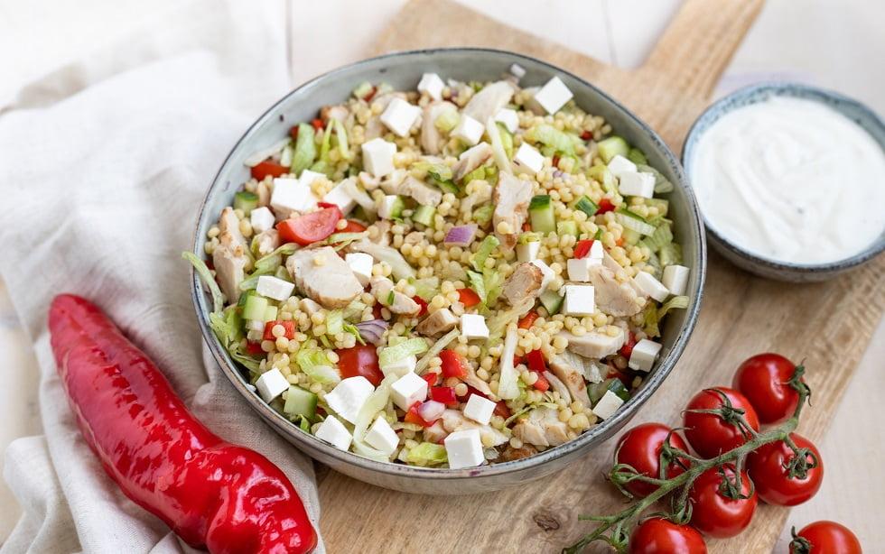 Parelcouscous salade met kip