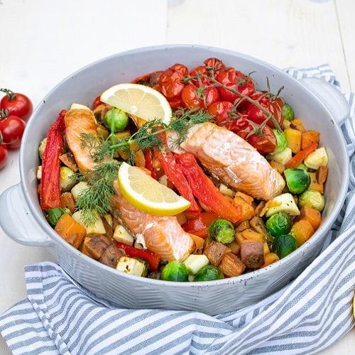 Zalm uit de oven met gegrilde groenten